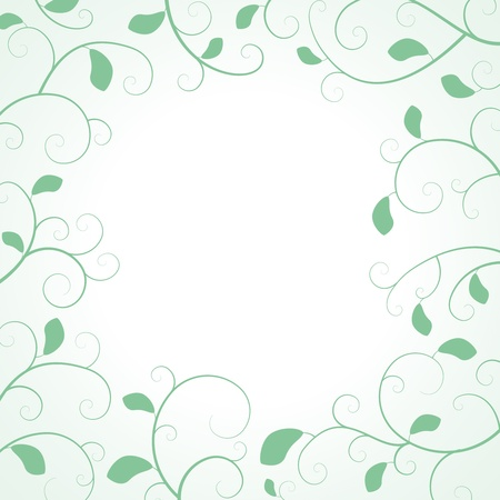 Floral Frame with curled branches and leaves on white background Stock Vector - 18676049