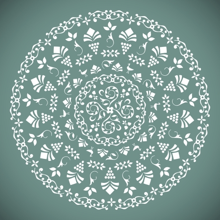 Ornamental Round Lace Pattern with floral ethnic details   Illustration Stock Vector - 18676051