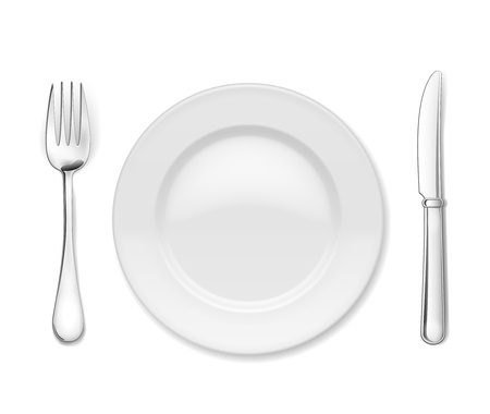 Plate with cutlery  knife and fork, isolated on white Vector