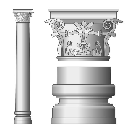 doric: Vector Greek Column isolated on white background Illustration