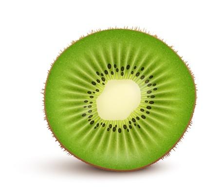 kiwi fruit: Fresh kiwi rebanada de fruta aislada en el fondo blanco Ilustraci�n vectorial Vectores