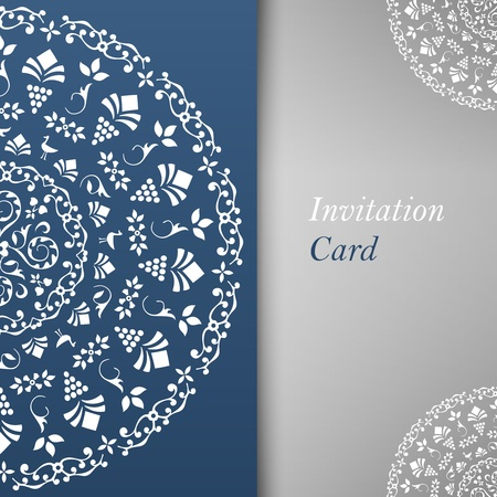 Invitation Card Template, blue greeting card for design Stock Vector - 18844827
