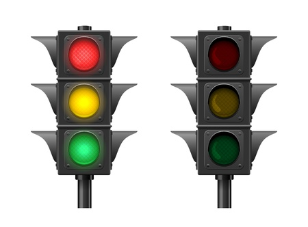 Traffic lights isolated on white background  Vector Illustration Stock Vector - 18844823