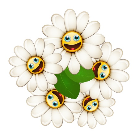 Bouquet of flowers with smiling daisies isolated on white background Stock Vector - 18979958
