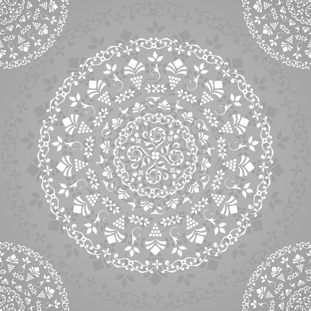 Grey Ornamental Seamless Lace Background  Illustration Stock Vector - 18979954
