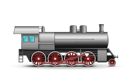 Locomotora realista aislado sobre fondo blanco Ilustración