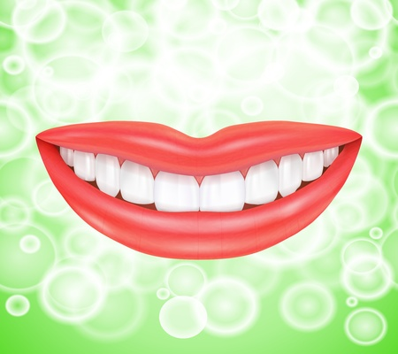 Smile  Smiling mouth with healthy teeth isolated on white background Stock Vector - 18979961