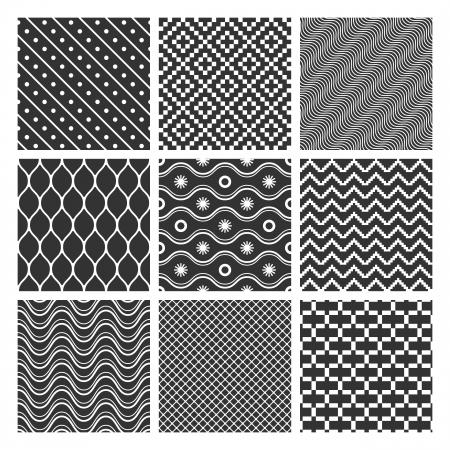 Set of monochrome geometric seamless patterns textures Stock Vector - 18979938