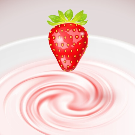 Vector Strawberry Cocktail with milk curl Background Vector