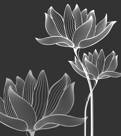 Monochrome Flowers Background over black Illustration Ilustracja