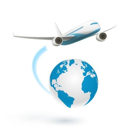 aerei: Aereo volare intorno al globo isolato su sfondo bianco, illustrazione vettoriale Vettoriali