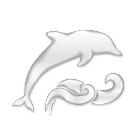 dolphin jumping: Dolphin silhouette of water drops isolated on white background Illustration