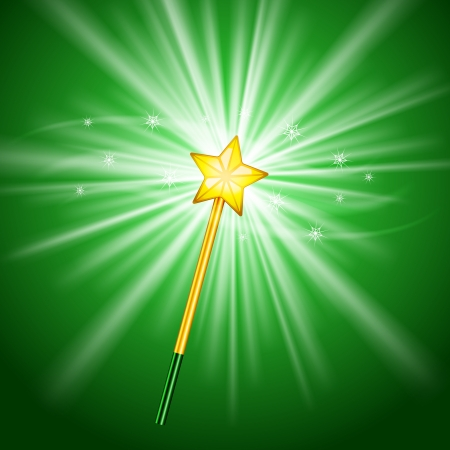 Vector Magic Wand icon with stars on green Stock Vector - 19099498