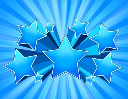 starburs: Blue Abstract explosi�n de la estrella de fondo con vigas Vectores