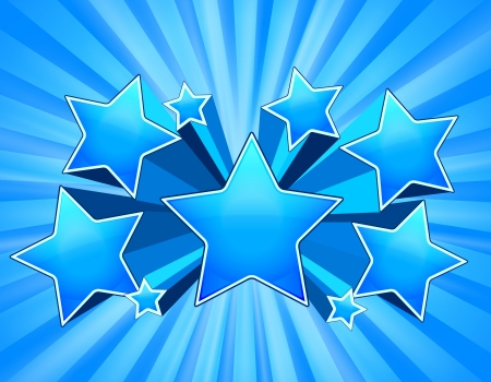 Blue Abstract Star Burst Background with beams Illustration