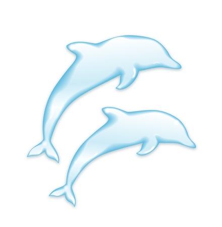 delfin: Delfiny sylwetka wody na białym tle Ilustracja