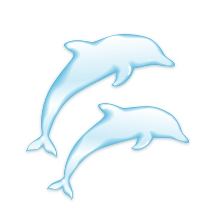 dolphin fish: Vector Dolphins silhouette of water isolated on white background