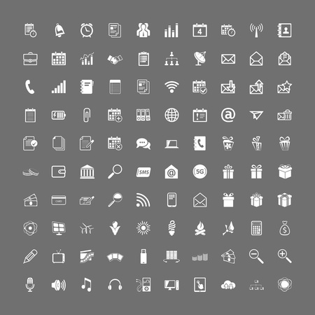 100 universal web icons set vector white on gray Stock Vector - 19374221