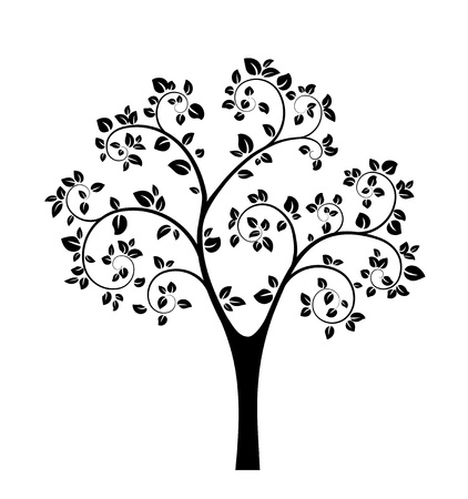Black Vector Tree isolated on white background Stock Vector - 19374215