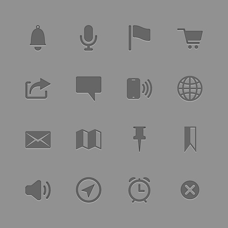 Icons collection for Mobile Applications with shadows and glare Stock Vector - 19374234