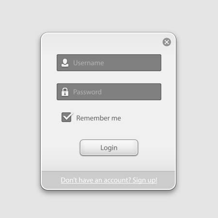 Vector login box form ui element on white background