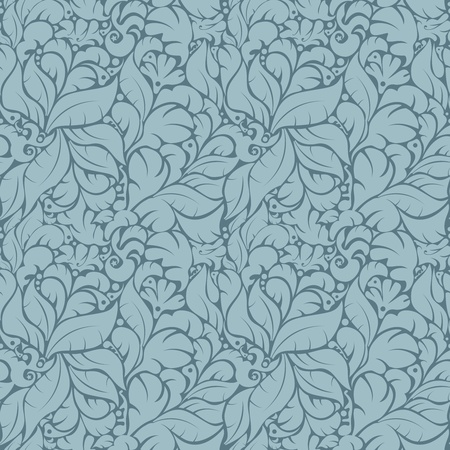 Seamless floral pattern against uniform blue background Stock Vector - 19374220