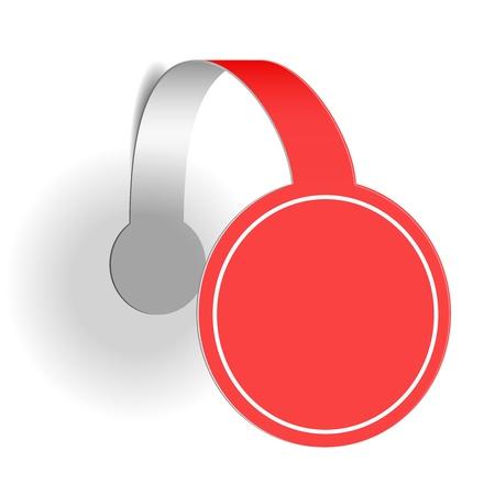 wobbler: Red advertising wobbler isolated on white background