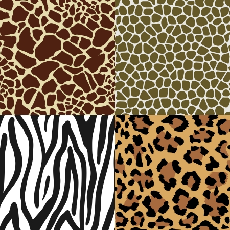 Seamless Animal Skin Pattern set  giraffe leopard zebra snake Vector