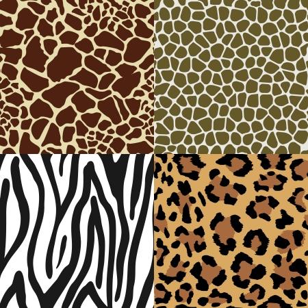 Seamless Animal Skin Pattern set  giraffe leopard zebra snake