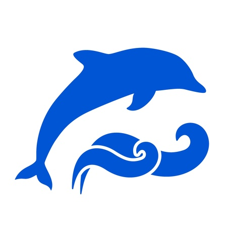 Vector Blue dolphin and waves silhouettes on white background Vector