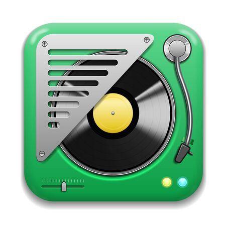 Music app icon, realistic turntable with vinyl plate Vector