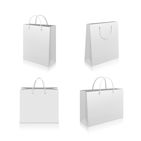 Paper Shopping Bags collection isolated on white background
