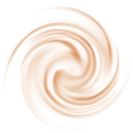 cremoso: El caf� y la textura del enrollamiento leche en el fondo blanco