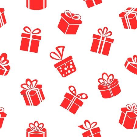 원활한 선물 패턴, 흰색 배경에 빨간색 선물 상자