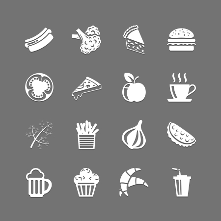 Fast food Outline monochrome icons set Stock Vector - 19982128