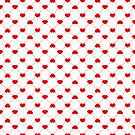 Seamless red hearts pattern on white background