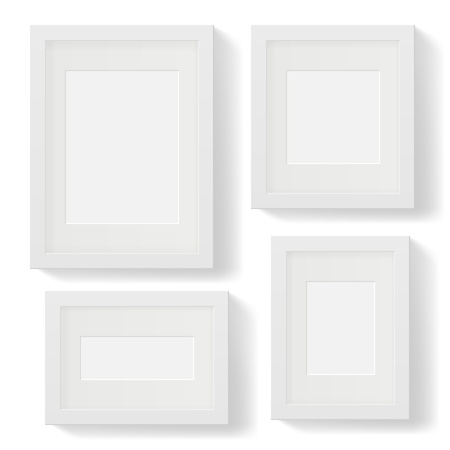 Set of white photo frames with shadows Stock Vector - 19982130