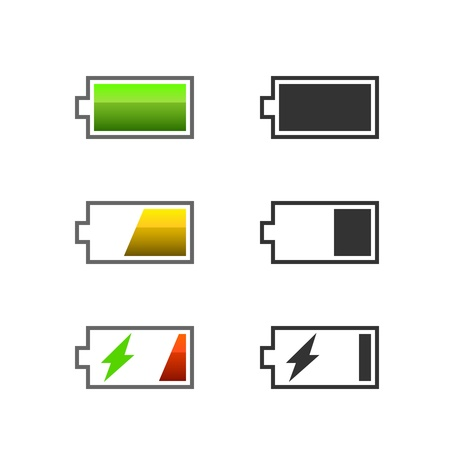 Battery charge icons signs color and monochrome Stock Vector - 19982140