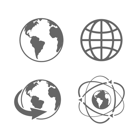 Globe earth icons set on white background Stock Vector - 19982135