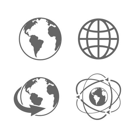 globe icon: Globe earth icons set on white background Illustration