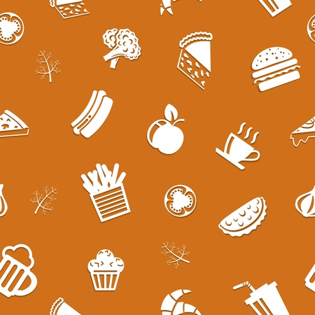 Seamless Fast food background, food icons on appetizing background Stock Vector - 19982146
