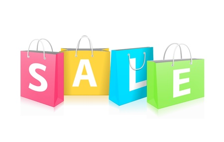 Sale on Shopping Bags isolated on white background Vector