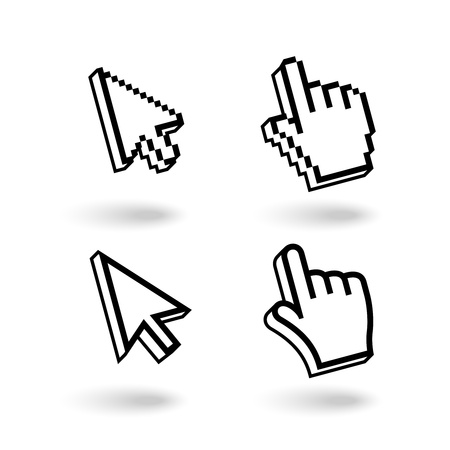 Pixel cursors icons Mouse hand and arrow isolated on white background Stock Vector - 19982147