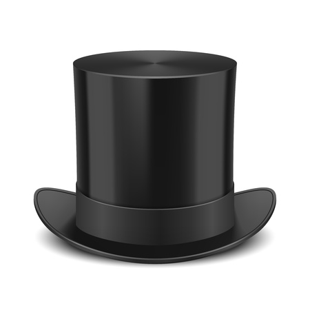 headgear: Black Top Hat illustration isolated on white background