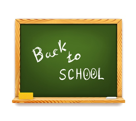 Green Chalkboard Back to School isolated on white Vector
