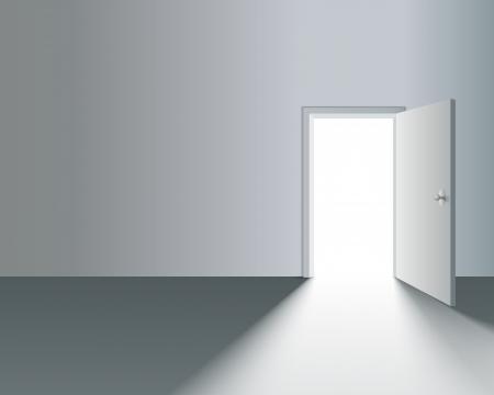 open the door: Light Open Door in White Wall with shadow