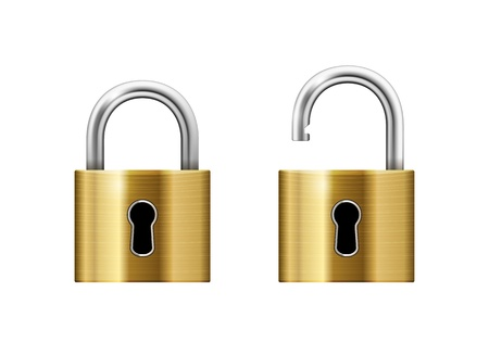 keyhole: Padlock with Keyhole isolated on white background Illustration