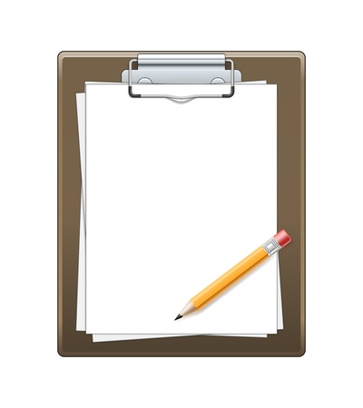 Clipboard with paper and pencil isolated on white background Stock Vector - 20408069