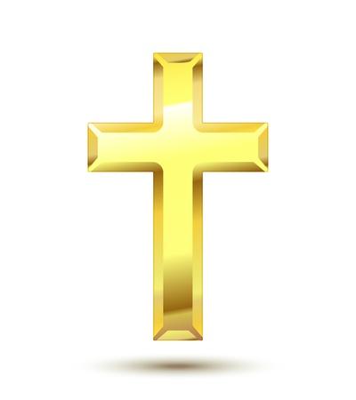 simbolos religiosos: De oro Cruz cristiana aislado en fondo blanco Vectores