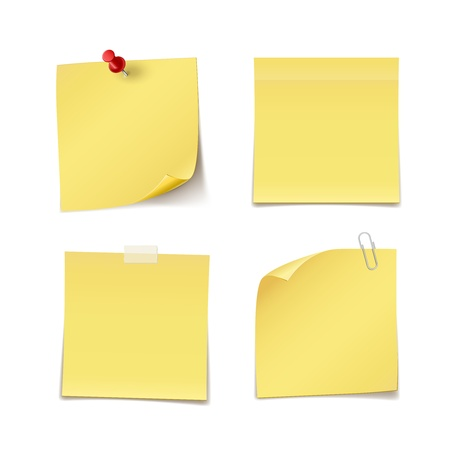 Adhesive Notes with pin, clip and scotch isolated on white Illustration